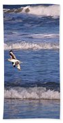 Seagulls Above The Seashore Beach Towel