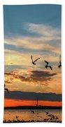 Seagulls At Sunset Beach Towel