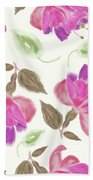 seamless   pattern of watercolor Fuchsia Flowers Beach Towel