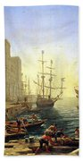 Seaport With The Embarkation Of Saint Ursula  Beach Towel