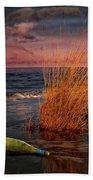Seaside Bottle At Sunset Beach Towel