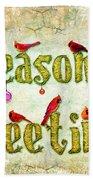 Season's Greetings Card Beach Towel