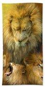 Seasons Of The Lion Beach Towel by Carol Cavalaris