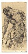 Seated Male Nude (sitzender M?nnlicher Akt) Beach Towel
