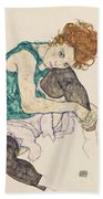 Seated Woman With Bent Knee Beach Towel by Egon Schiele