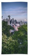 Seattle And Mt. Rainier Vertical Beach Towel