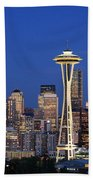 Seattle At Dusk Beach Towel