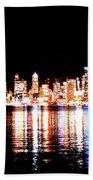 Seattle At Night - From Alki Beach Beach Towel
