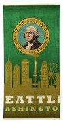 Seattle City Skyline State Flag Of Washington Art Poster Series 017 Beach Towel