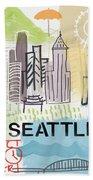 Seattle Cityscape- Art By Linda Woods Beach Sheet
