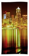 Seattle Panorama Reflection In Elliot Bay Beach Towel by Tim Rayburn