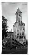 Seattle - Pioneer Square Tower Bw Beach Towel