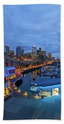 Seattle Skyline From The Waterfront At Blue Hour Beach Towel