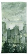 Seattle Skyline Watercolor Space Needle Beach Towel