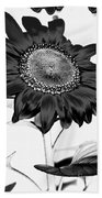 Seattle Sunflower Bw Invert - Stronger Beach Towel