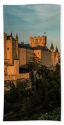 Segovia Alcazar And Cathedral Golden Hour Beach Towel