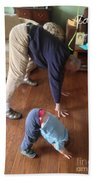 Self Portrait 8 - Downward Dog With Grandson Max On His 2nd Birthday Beach Sheet