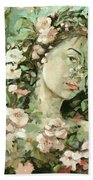 Self Portrait With Aplle Flowers Beach Towel