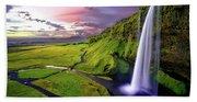 Seljalandsfoss Waterfall Beach Towel