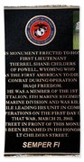 Semper Fi To The 1st Man Down In Iraqi Freedom Plaque Beach Towel