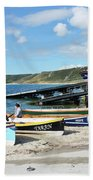 Sennen Cove Lifeboat And Pilot Gigs Beach Towel