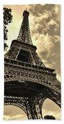 Sepia Eiffel Beach Towel