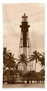 Sepia Light House  Beach Towel