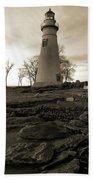 Sepia Marblehead Lighthouse Beach Towel