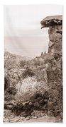 Sepia-toned Fikardou Village Scene 1 Beach Towel