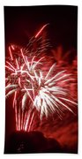 Series Of Red And White Fireworks Beach Towel