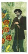 Seven Of Pentacles Illustrated Beach Towel