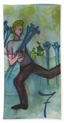 Seven Of Swords Illustrated Beach Towel