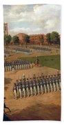 Seventh Regiment On Review. Washington Square. New York Beach Towel