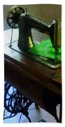 Sewing Machine With Green Cloth Beach Towel