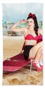 Sexy Beach Pin Up Girl Wearing High Heels Beach Sheet