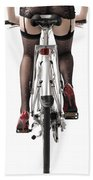 Sexy Woman Riding A Bike Beach Sheet