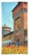 Sforza Castle Milan Italy Beach Towel