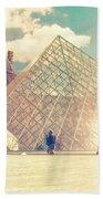 Shabby Chic Louvre Museum Paris Beach Towel