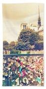 Shabby Chic Love Locks Near Notre Dame Paris Beach Towel