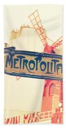 Shabby Chic Moulin Rouge Metro Sign Paris Beach Towel