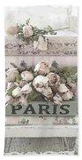 Paris Shabby Chic Pastel Paris Books Roses - Paris Shabby Cottage Watercolor Roses Beach Sheet