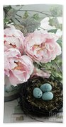 Shabby Chic Peonies With Bird Nest Robins Eggs - Summer Garden Peonies Beach Towel