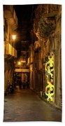 Shabby Chic - Small Street Night Walk In Syracuse Sicily Beach Towel