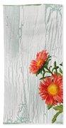 Shabby Chic Wildflowers On Wood Beach Towel