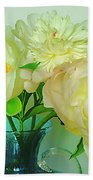 Beautiful Peony Flowers  In Blue Vase. Beach Towel