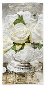 Shabby White Roses With Gold Glitter Beach Towel