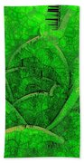 Shades Of Green Stained Glass Beach Towel