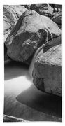 Shadows Of A Creek In Black And White Beach Towel