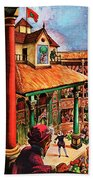 Shakespeare Performing At The Globe Theater Beach Towel