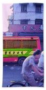 Shanghai Pink Bus Beach Towel